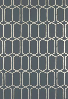 Wallcovering / Wallpaper | Modern Trellis in Charcoal Metallic | Schumacher