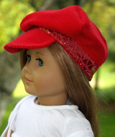 American Girl Doll Clothes-Red and White Summer Outfit including Cap