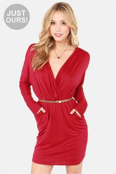 LULUS Exclusive Ruche Decision Wine Red Dress at LuLus.com! #lulus #holidaywear