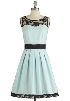 Mint Dress with Black Lace