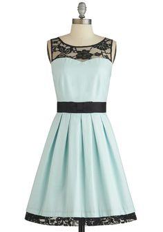 Mint Dress with Black Lace