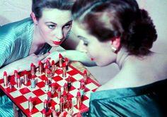 vintag, lipsticks, games, animals, red, chess, art print, lipstick promis, chalon wood