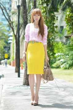 Cute work outfit, if you have the hips for the pencil skirt that is!