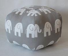 18 Ottoman Pouf Floor Pillow Grey White Elephant by aletafae