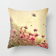 Spring Flower Pillow Cover Rustic Decor Flower by HappyPillowShop, $37.00