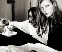 Johnny Depp and Kate Moss by Roxanne Lowit