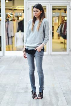 . jean, cloth, heel, casual styles, outfit, street styles, grey, shoe, style fashion