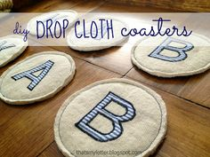 Thats My Letter: D is for Drop Cloth Coasters, personalized