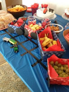 Train birthday party...could use baskets from $1 store and fill with any snack