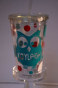 Personalized Owl Tumbler with Lid and Straw 16 by gingerleighmade, $10.00