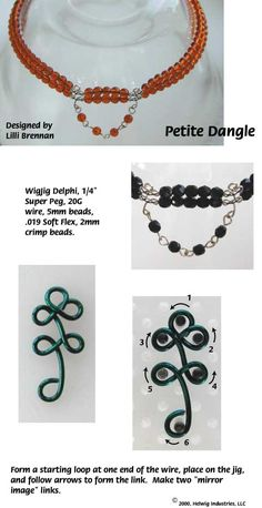 Petite Dangle Wire and Beads Necklace Jewelry Making Project made with WigJig tools and jewelry supplies.