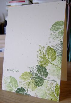 Supplies  Stamps: French Foliage, Faith in Nature (the sentiment)  Ink: Certainly Celery, Old Olive, Always Artichoke, Crumb Cake for the splodges  Card:  Confetti Cream