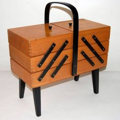 OMG This fab sewing box only lasted 5 hours on sale! Original Vintage Retro 1970s Wooden Cantilever 3 Tier Craft Sewing Box
