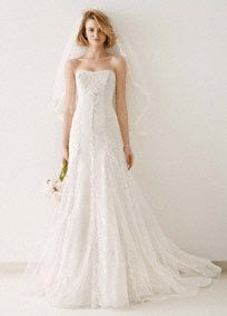 Tulle and Lace Gown with Overlay A-line Skirt