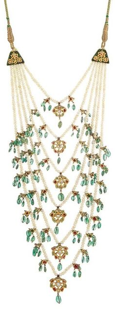 Indian Multistrand Pearl, Jaipur Enamel, Emerald Bead, Foiled-Back Colored Stone and Diamond Necklace.