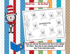 Dr. Seuss shake, roll, count, and color math game math, kindergarten crayon, roll, school, color, read, fun, crayons, dr seuss