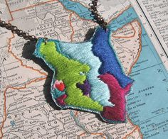 I Heart Kenya Hand Embroidered Necklace by ilgattoselvatico, $48.00