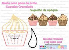 Patchwork moldes cupcake granulado patch aplique - Drika Artesanato - O seu Blog de Artesanato.
