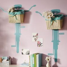 wall baskets+bike stencil~killer cute!