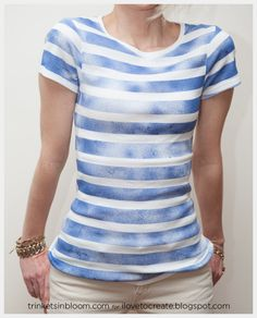 DIY: striped t-shirt with spray paint