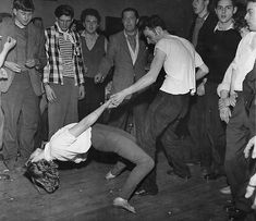 """Dancing at a London jazz club, 1950s.  These young jazz fans/""""beatniks"""" in Britain became the precursor to Mods."""