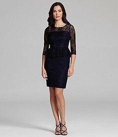 Adrianna Papell Woman Lace Peplum Dress #Dillards