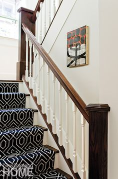 Dark geometric stair runner. I like how traditional and modern decor feel relaxed together. #devinecolor