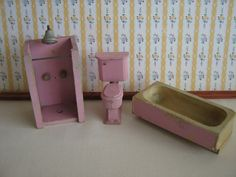 1932 Schoenhut Miniature Dollhouse  Orchid Bathroom by TheToyBox, $60.00