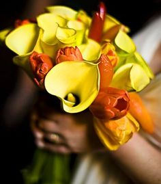 Yellow and orange calla lily and tulip bouquet