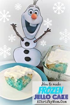 Frozen Party Ideas, Disney Frozen food, Frozen Party, How to make Disney Frozen Jello Cake, Blue Jello Cake #Frozen, #Disney