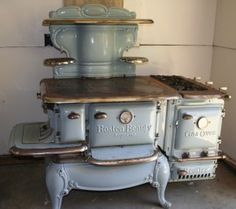 My dream stove. Antique baby blue enameled Boston Beauty Supreme stove, made by the Walker & Pratt Mfg. Co.