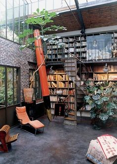 big library in a loft