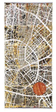 Textile/quilt work 'Urban fragments' by Eszter Bornemisza (2011) for Voices quilt art exhibition at the Devon Guild of Craftsmen jan-Feb 2012.