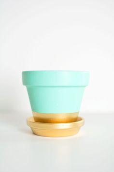 DIY gold dipped plant pot