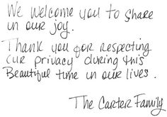 The Carter Family welcoming their daughter to the world...happy for them!