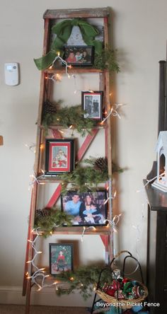 picket fences, christmas trees, red ladder, the holiday, rustic ladder