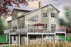 Plan de Maison unifamiliale W3934, grande maison avec logement, bureau à domicile, grand balcon, 4 chambres. Style chalet et champêtre. Cottage style and country. Beaucoup de fenêtre. Large family, grande famille !