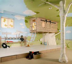 Tree Bed kid bedrooms, tree fort, tree houses, kid rooms, boy rooms, indoor trees, little boys, bedroom designs, dream rooms