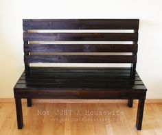 Entryway bench built from 2x4s, 1x4s and for about $50.00 GREAT TUTORIAL