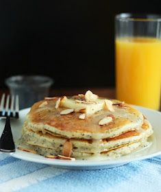 Almond poppyseed pancakes with Almond syrup.