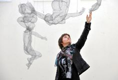 These striking wire-mesh sculptures of naked, falling figures hanging from the ceiling often attract attention and comment from students and visitors at the University of Sunderland's automotive engineering department.