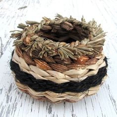 Natural Woven Basket Hawaiian Rustic OOAK by HanaMauiCreations,
