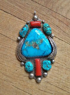 Native American Sterling Silver Blue Gem Turquoise and Coral Pendant | eBay