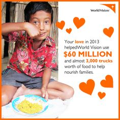 One in eight people in the world do not have enough to eat. Many poor farmers are unable to grow enough food to feed their own families, much less sell for additional income. That's why World Vision partners with communities to address immediate food needs — but also to grow sustainable food for the future.