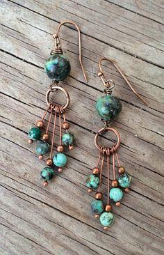 Copper Earrings / Turquoise Earrings / Natural by Lammergeier, $30.00