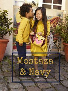 Mostaza y navy en Moda Infantil | http://petit-on.com