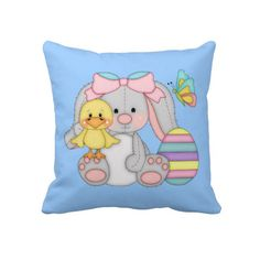 Cartoon easter Bunny Pillow by DoodlesHolidayGifts