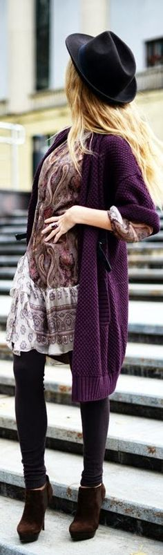 Plum Coat by Fashion Around
