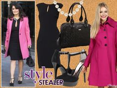 Classy Combination: Little black dress, t-strap sandals, and pink coat! #Vday