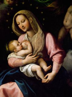 attachment parenting, artworks, mother, breastfeed jesus, 17th century